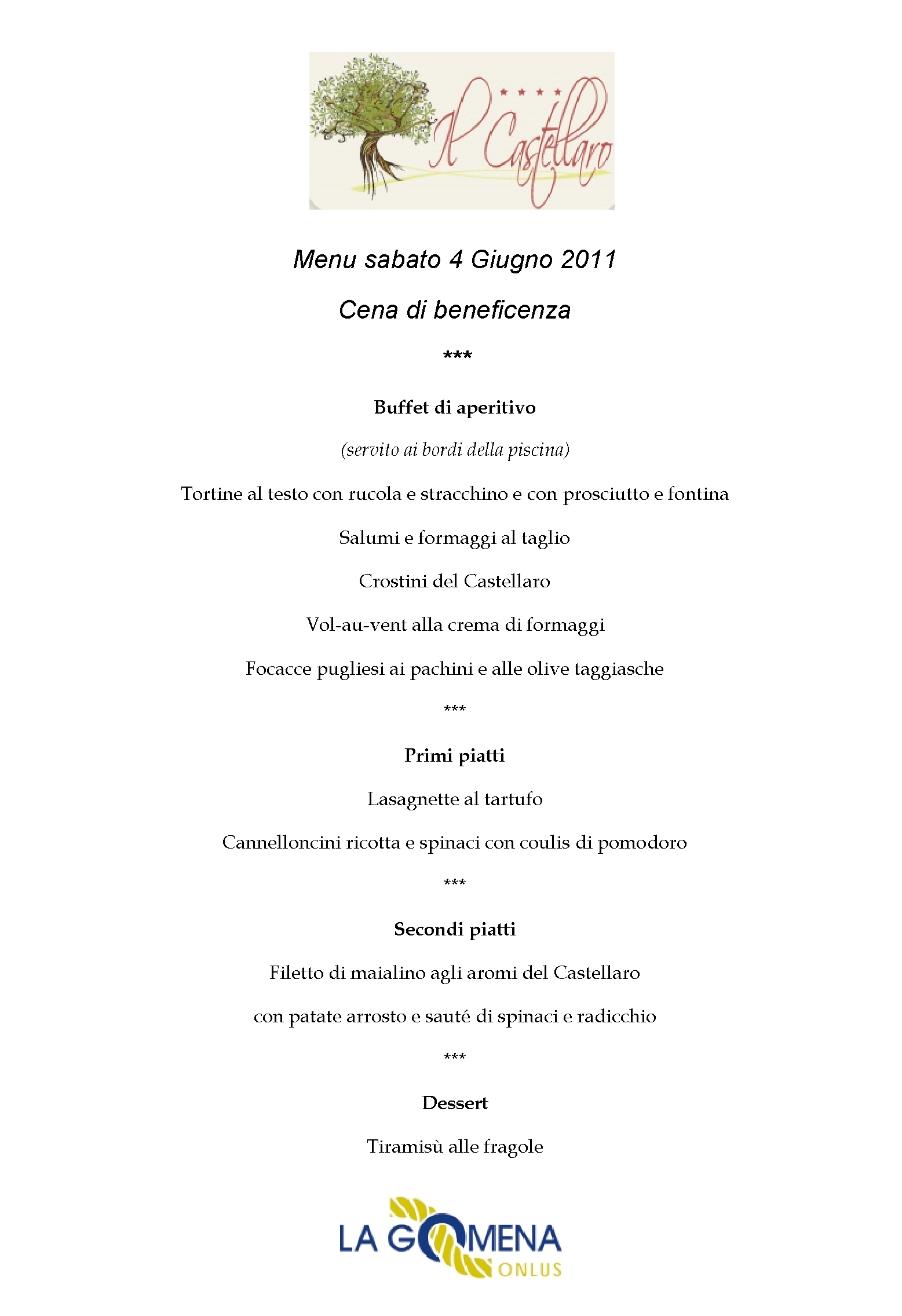 Cena di beneficenza hotel country house il castellaro for Menu cenas